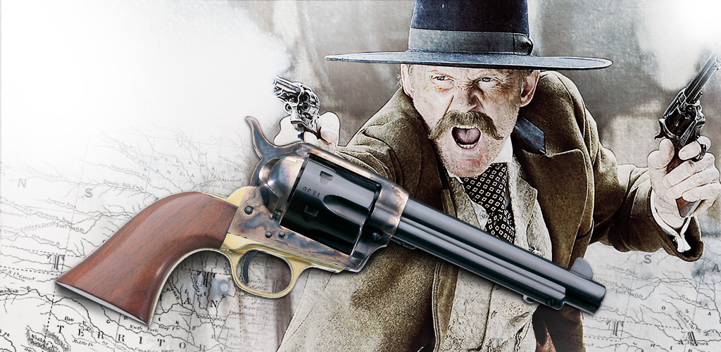 Glamour image of Uberti 1873 Cattleman 12-Shot .22 long rifle, a full-frame single-action army firearm